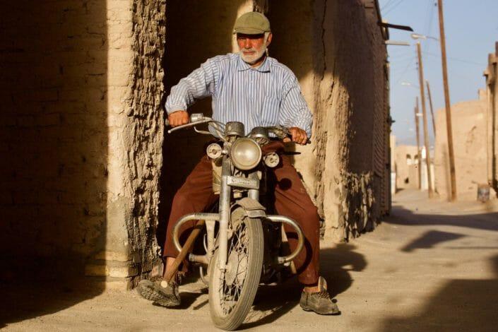Starting the bike in pre-islamic remains Nain Iran May 2016